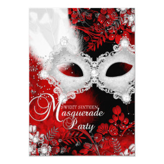 """Red & White sparkle Mask Masquerade Sweet 16 5"""" X 7"""" Invitation Card"""