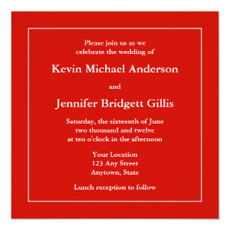 Red & White Square Invitations or Announcements