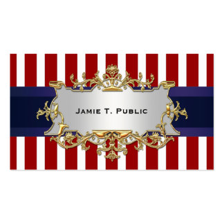 Red White Stripe, Blue Ribbon, Gold Framed Label Double-Sided Standard Business Cards (Pack Of 100)