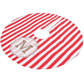 Red White Stripe Candy Monogram Initial Tree Skirt Brushed Polyester Tree Skirt