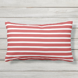 Red White Stripe Classic Nautical Design Outdoor Pillow