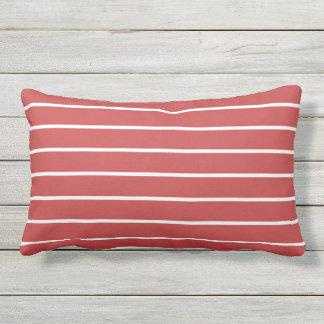 Red White Stripe Classic Nautical Design Pillow