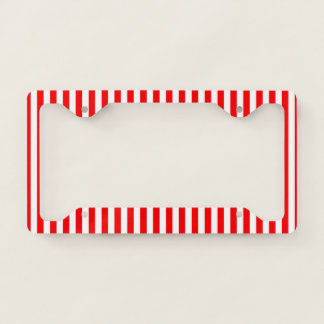 Red White Stripe Design License Plate Frame