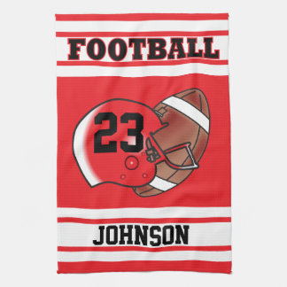 Red & White Stripe Football Jersey Kitchen Towel
