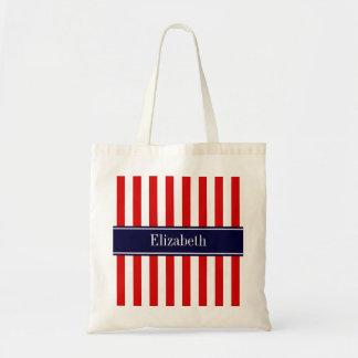 Red White Stripe Navy Blue Name Monogram Tote Bag