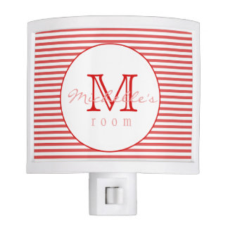 Red & White Stripes | Monogram Night Light