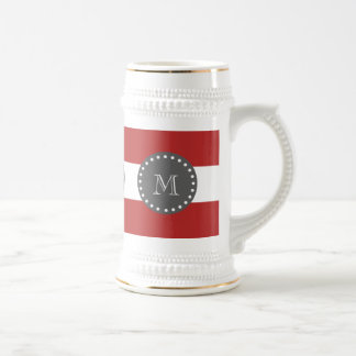 Red White Stripes Pattern, Charcoal Monogram 18 Oz Beer Stein