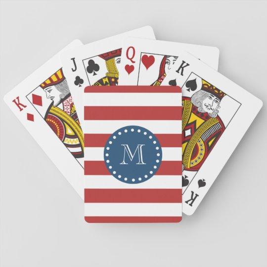 Red White Stripes Pattern, Navy Blue Monogram Poker Deck
