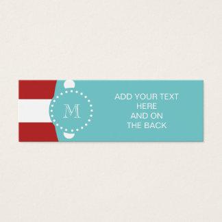 Red White Stripes Pattern, Teal Monogram Mini Business Card
