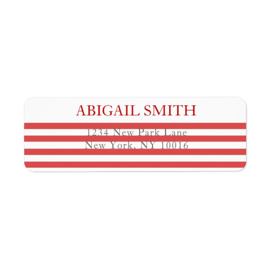 Red & White Stripes - Return Address Labels