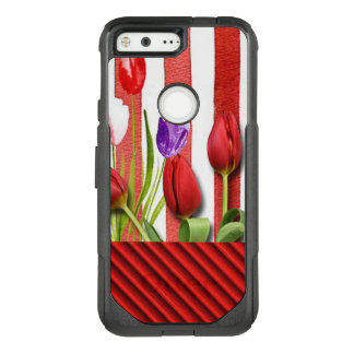 Red & White Stripes With Tuplis OtterBox Commuter Google Pixel Case