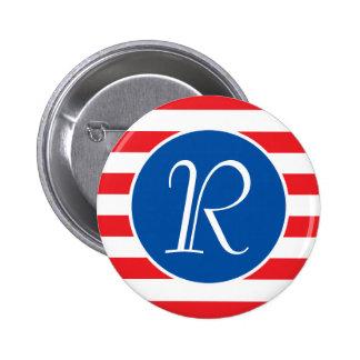 Red & White Strips Monogram 2 Inch Round Button