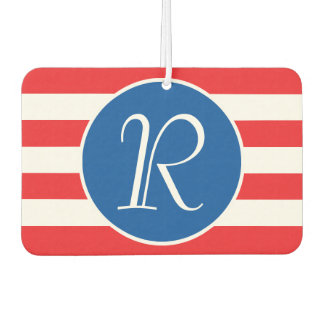 Red & White Strips Monogram Car Air Freshener