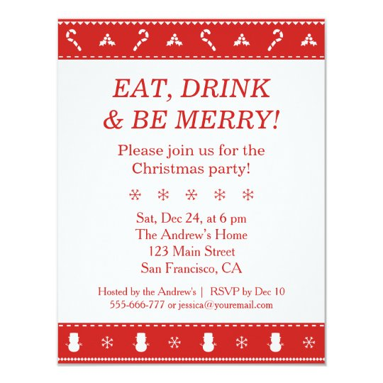 Red White Stylish Modern Pattern Christmas Party Card