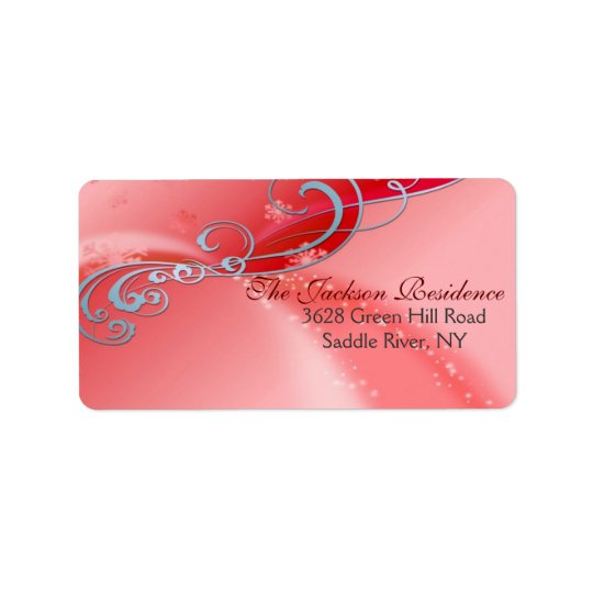 Red & White Swirl Christmas Address Label