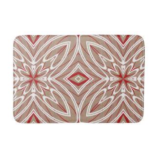 Red White Taupe Vintage Retro Nouveau Deco Pattern Bath Mat