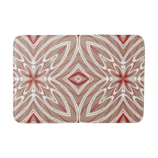 Red White Taupe Vintage Retro Nouveau Deco Pattern Bathroom Mat