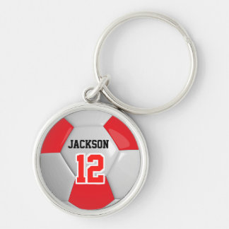 Red & White Team Soccer Ball Keychain