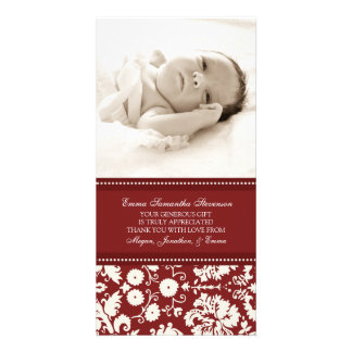 Red White Thank You Baby Shower Photo Cards