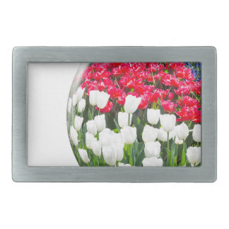 Red white tulips and blue grape hyacinths belt buckles