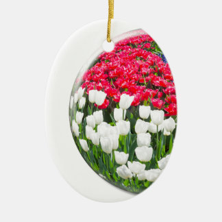 Red white tulips and blue grape hyacinths ceramic oval ornament