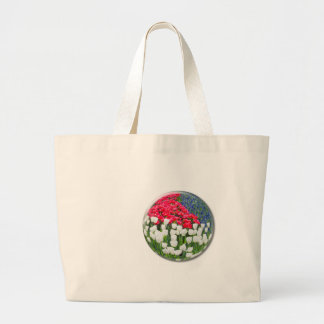 Red white tulips and blue grape hyacinths large tote bag