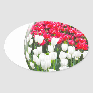 Red white tulips and blue grape hyacinths oval sticker