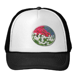 Red white tulips and blue grape hyacinths trucker hat