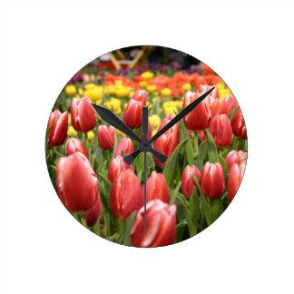Red White Tulips Clock