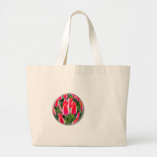 Red white tulips in glass sphere on white large tote bag
