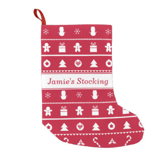 Red White Ugly Christmas Sweater Icons Pattern Small Christmas Stocking