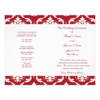 Red White Vintage Damask Wedding Program