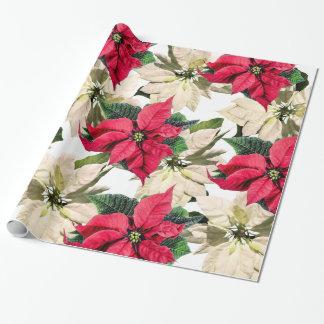 Red & White Winter Poinsettia Flower Gift wrap