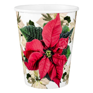 Red & White Winter Poinsettia Flower Paper Cups