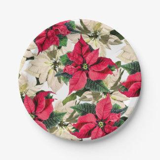 Red & White Winter Poinsettia Flower paper plates