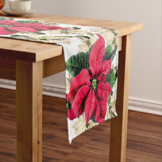 Red & white Winter Poinsettia holiday Table Runner