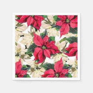 Red & White Winter Poinsettia Paper Napkins