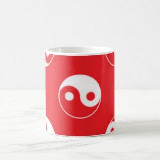 Red & White Yin Yang Pattern Design Coffee Mug