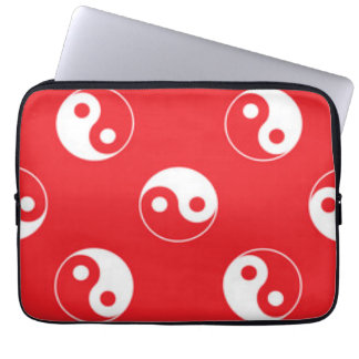 Red & White Yin Yang Pattern Design Laptop Sleeve