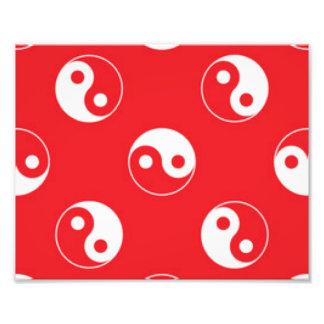 Red & White Yin Yang Pattern Design Photo Print