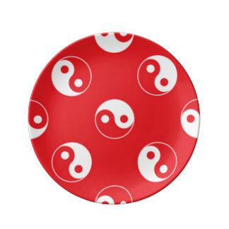 Red & White Yin Yang Pattern Design Porcelain Plates