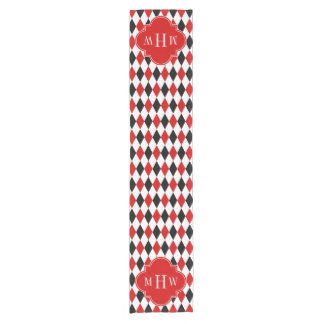 Red Wht Black Harlequin Red Quatrefoil 3 Monogram Short Table Runner