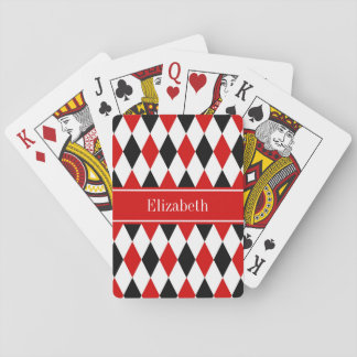Red Wht Black Harlequin Red Ribbon Name Monogram Playing Cards