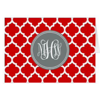 Red Wht Moroccan #5 Charcoal 3 Init Vine Monogram Card