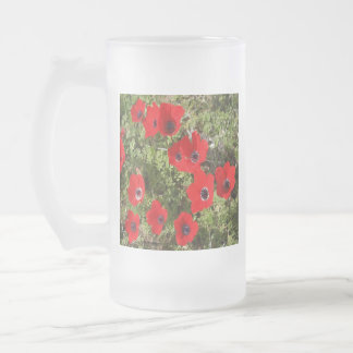 Red Wild Anemone Flowers Frosted Glass Beer Mug