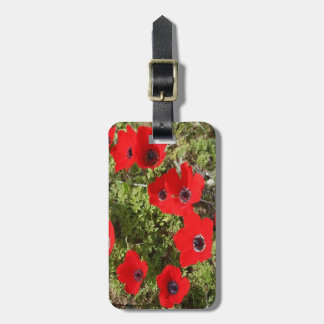 Red Wild Anemone Flowers Luggage Tag