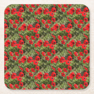 Red Wild Anemone Flowers Square Paper Coaster