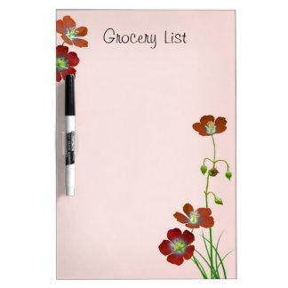 Red Wildflower Reminder List Dry Erase Board