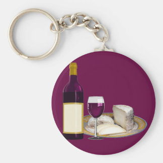 RED WINE  AND  CHEESE, CHEESE LOVERS GIFT KEYCHAIN