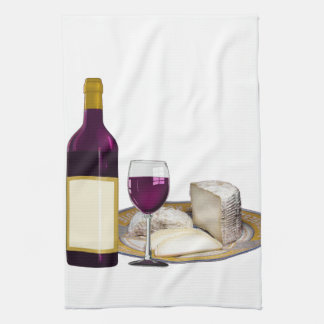RED WINE  AND  CHEESE, CHEESE LOVERS GIFT KITCHEN TOWEL